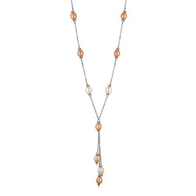 All Natural Freshwater Multi Colored Cultured Pearl Knot Necklace in .925 Sterling Silver