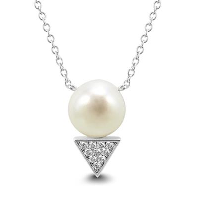 9mm Freshwater Cultured Pearl and Swarovski Zirconia Pendant in .925 Sterling Silver