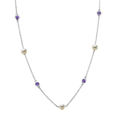 Honora Freshwater Cultured Pearl and Amethyst Station Necklace in .925 Sterling Silver