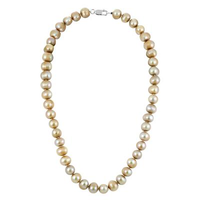 9.5MM Bronze Cultured Freshwater Pearl Necklace with .925 Sterling Silver