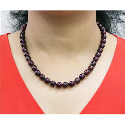 8.5MM Mulberry Plum Cultured Freshwater Pearl Necklace and Bracelet Set with .925 Sterling Silver Clasp