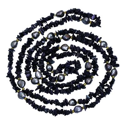 60 Inch Black Quartz and Black Cultured Pearl Necklace