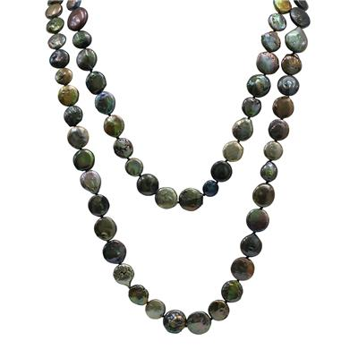 64 Inch Coin Shaped Freshwater Cultured Pearl Necklace