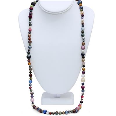 36 Inch Multi Colored Freshwater Cultured Pearl Necklace Strand