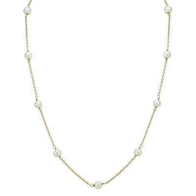 5mm White Cultured Pearl Station Necklace in 10K Yellow Gold - 16 Inches