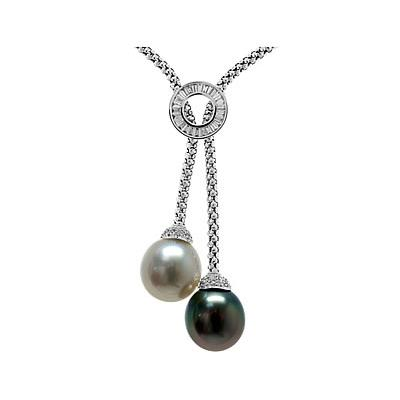 Natural South Sea & Tahitian Drop Pearl & Diamond Necklace in 18kt White Gold