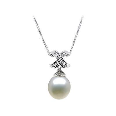 Natural South Sea Drop Pearl & Diamond Pendant in 18kt White Gold