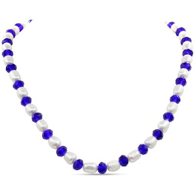 Electric Blue Crystal and Giant Seed Pearl Necklace