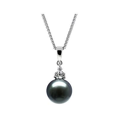 Natural Black Tahitian Round Pearl & Diamond Pendant in 14kt White Gold
