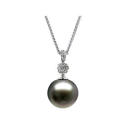 Natural Black Tahitian Drop Pearl & Diamond Pendant in 14kt White Gold