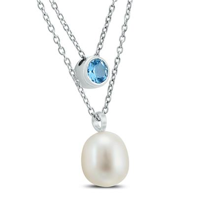 Freshwater Cultured Pearl and Blue Topaz Layer Necklace in .925 Sterling Silver