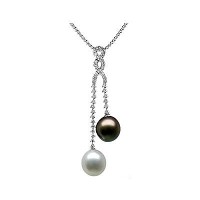 Natural South Sea & Black Tahitian Drop Pearl & Diamond Pendant in 18kt White Gold