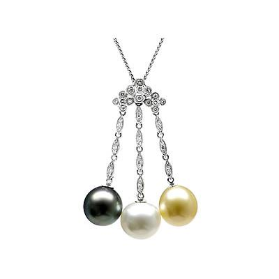 Natural South Sea, Golden South Sea and Black Tahitian Drop Pearl & Diamond Pendant (18kt White Gold)