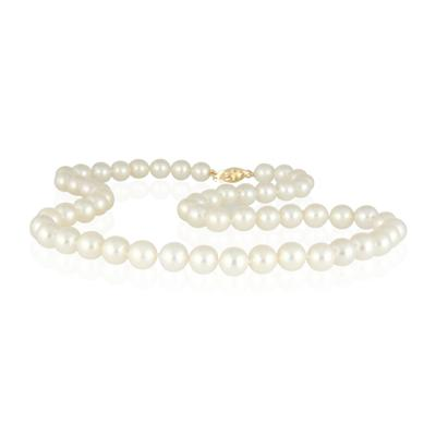 6-6.5MM Natural Freshwater White Pearl Necklace Strand with 14K Gold  Clasp