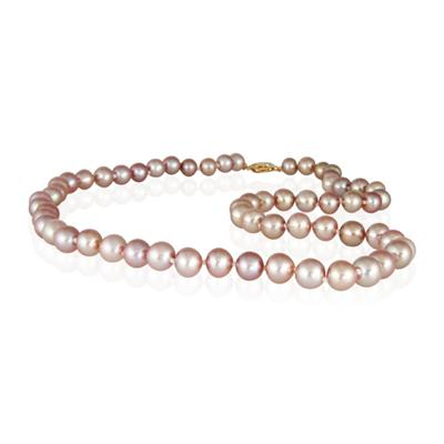 7-8.0MM Natural Freshwater Pink Pearl Necklace Strand with 14K Gold  Clasp