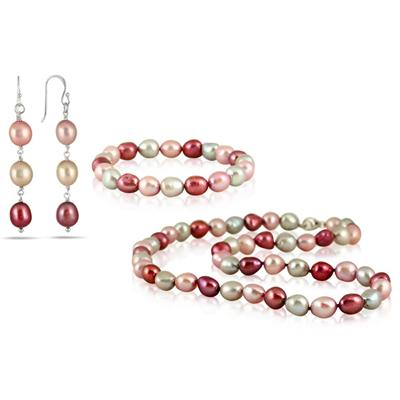 7-8MM All Natural Freshwater Multi Colored Baroque Cultured Pearl Jewelry Set in .925 Sterling Silver
