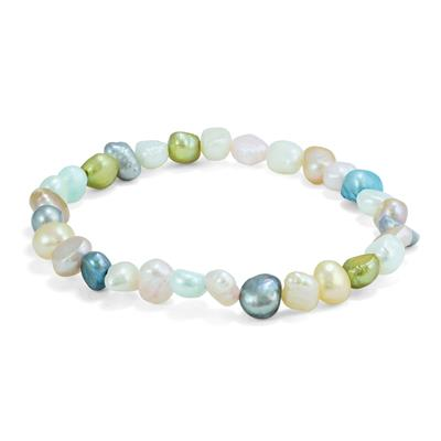 Mulitcolor Cultured Freshwater Rice Pearl Necklace and Bracelet Matching Set