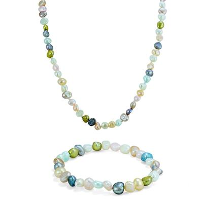 Mulitcolor Cultured Freshwater Rice Pearl Necklace & Bracelet Matching Set