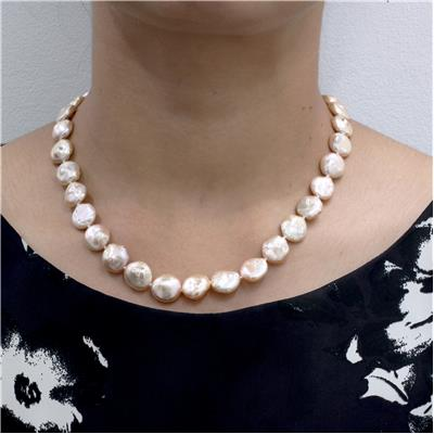 12mm - 14mm Freshwater Cultured Coin Pearl Heart Toggle Necklace and Bracelet