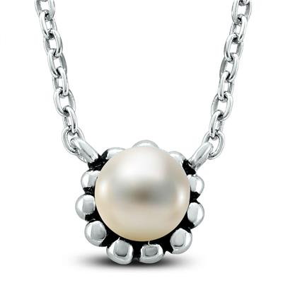 5-6mm Freshwater Cultured Pearl  Choker Necklace and Earring Set in Sterling Silver
