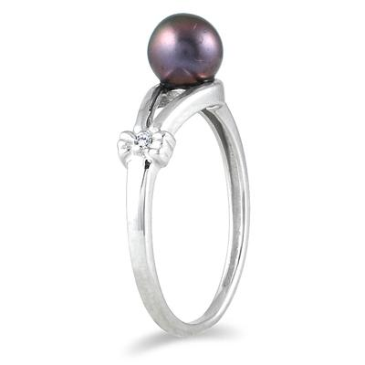 10K White Gold All Natural 4mm Akoya Cultured Pearl and Diamond Ring