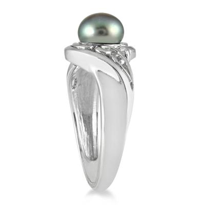 7mm Freshwater Black Cultured Pearl and Diamond Engraved Ring in .925 Sterling Silver