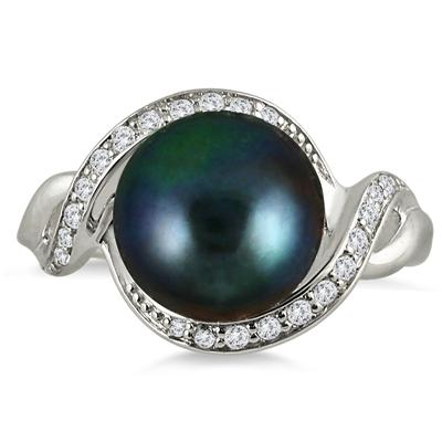 10mm Freshwater Black Cultured Pearl and White Topaz Royal Ring in .925 Sterling Silver