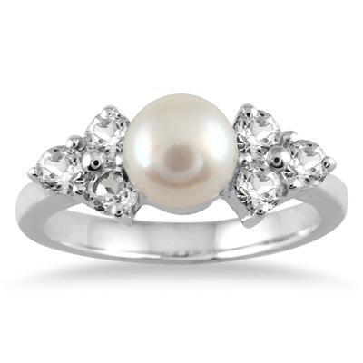 7mm Freshwater Cultured Pearl and Topaz Ring in .925 Sterling Silver