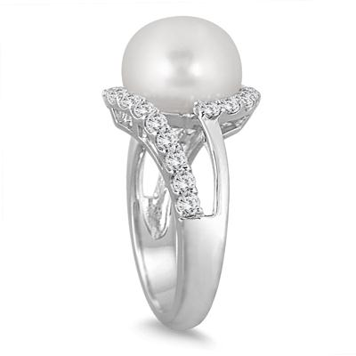 11MM Freshwater White Cultured Pearl and White Topaz Ring in .925 Sterling Silver