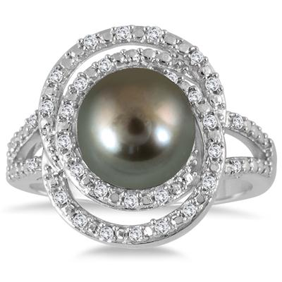 1/4 Carat Freshwater Black Cultured Pearl and Diamond Ring in .925 Sterling Silver