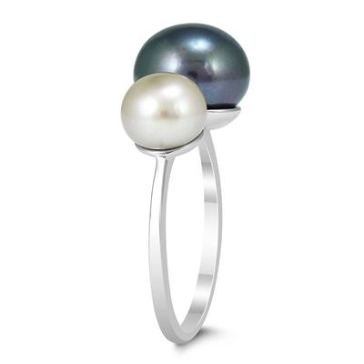 Honora Cultured Freshwater Black and White Pearl Peacock Ring in .925 Sterling Silver