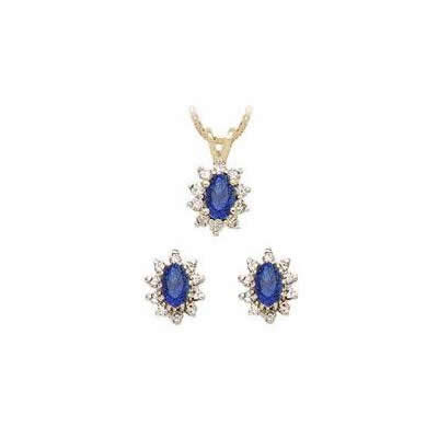 Oval Flower Sapphire and Diamond Set