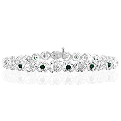 1 1/2 Carat TW Emerald and Diamond X Bracelet 10K White Gold