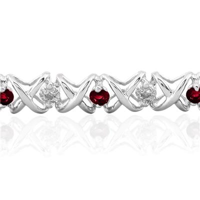 1.50 Carat TW Ruby and Diamond X Bracelet 10K White Gold