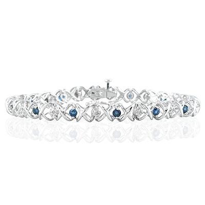 1.50 Carat TW Sapphire and Diamond X Bracelet 10K White Gold