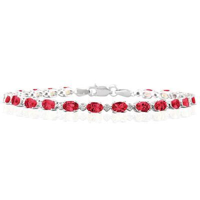 5.30 Carat TW Ruby Bracelet in 10K White Gold