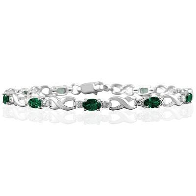 10k White Gold Emerald and Diamond Hugs and Kisses Bracelet
