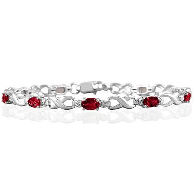 10k White Gold Ruby and Diamond Hugs and Kisses Bracelet