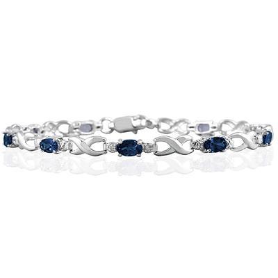 10k White Gold Sapphire and Diamond Hugs and Kisses Bracelet