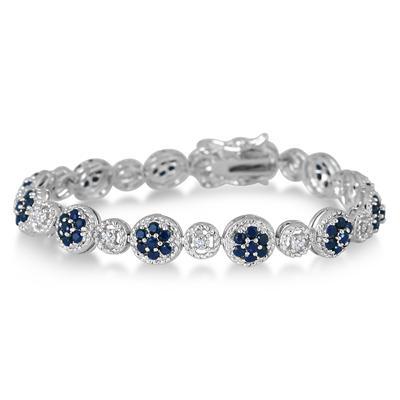4.00 Carat Genuine Sapphire and Diamond Bracelet in .925 Sterling Silver