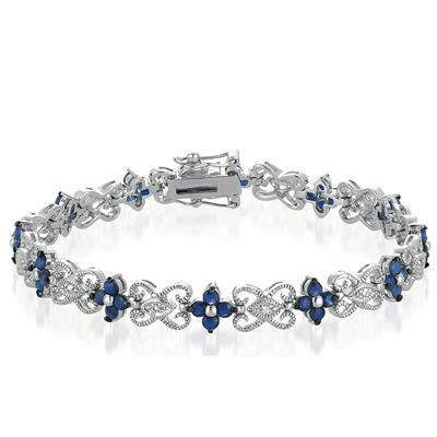 4.75 Carat Genuine Sapphire and Diamond Bracelet in .925 Sterling Silver