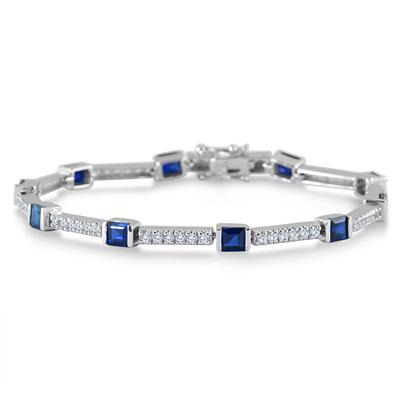 Lab Created Blue and White Princess Sapphire Bracelet on .925 Sterling Silver