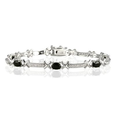 Sapphire and Diamond X Link Bracelet in Rhodium Plated Brass