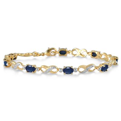 Sapphire and Diamond Bracelet in 18K Gold plated Brass