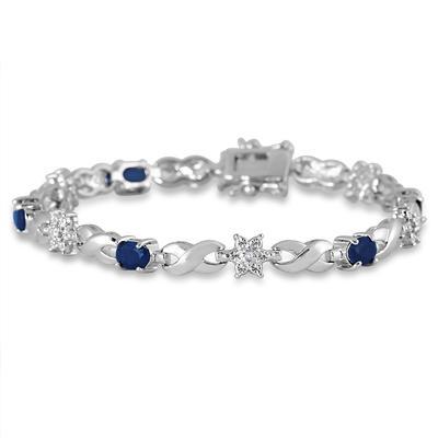 3 Carat Sapphire and Diamond Bracelet in Rhodium Plated Brass