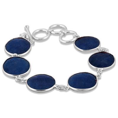 45 Carat Indian Onyx Sapphire Link Bracelet in .925 Sterling Silver