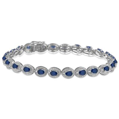 5.50 Carat Genuine Sapphire and Diamond Bracelet in .925 Sterling Silver