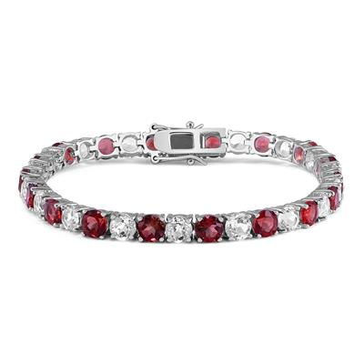 5MM Lab Created Ruby and White Topaz Bracelet in .925 Sterling Silver