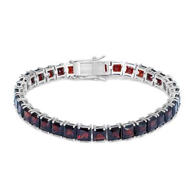 Princess Garnet Tennis Bracelet in .925 Sterling Silver