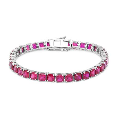 Cushion Lab Created Ruby Bracelet in .925 Sterling Silver